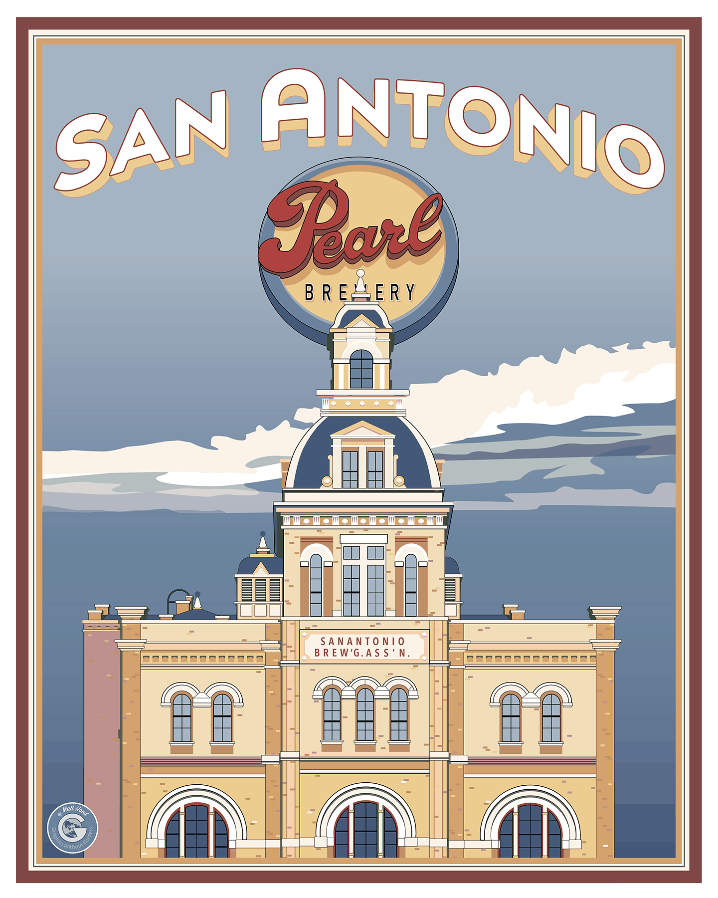Travel poster for San Antonio's Pearl Brewery