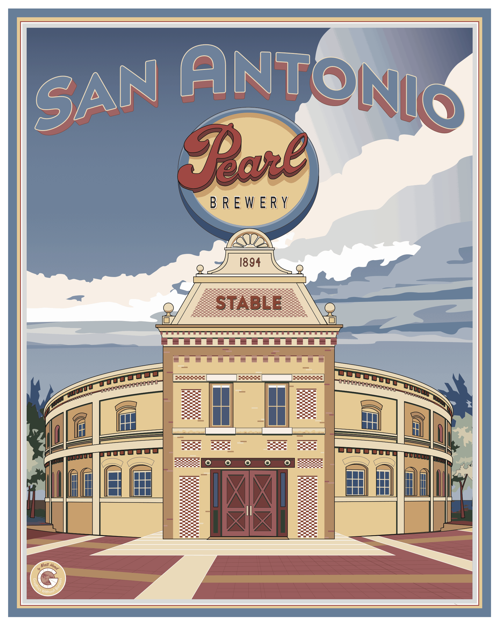 Vintage-style travel poster featuring San Antonio's Pearl Brewery