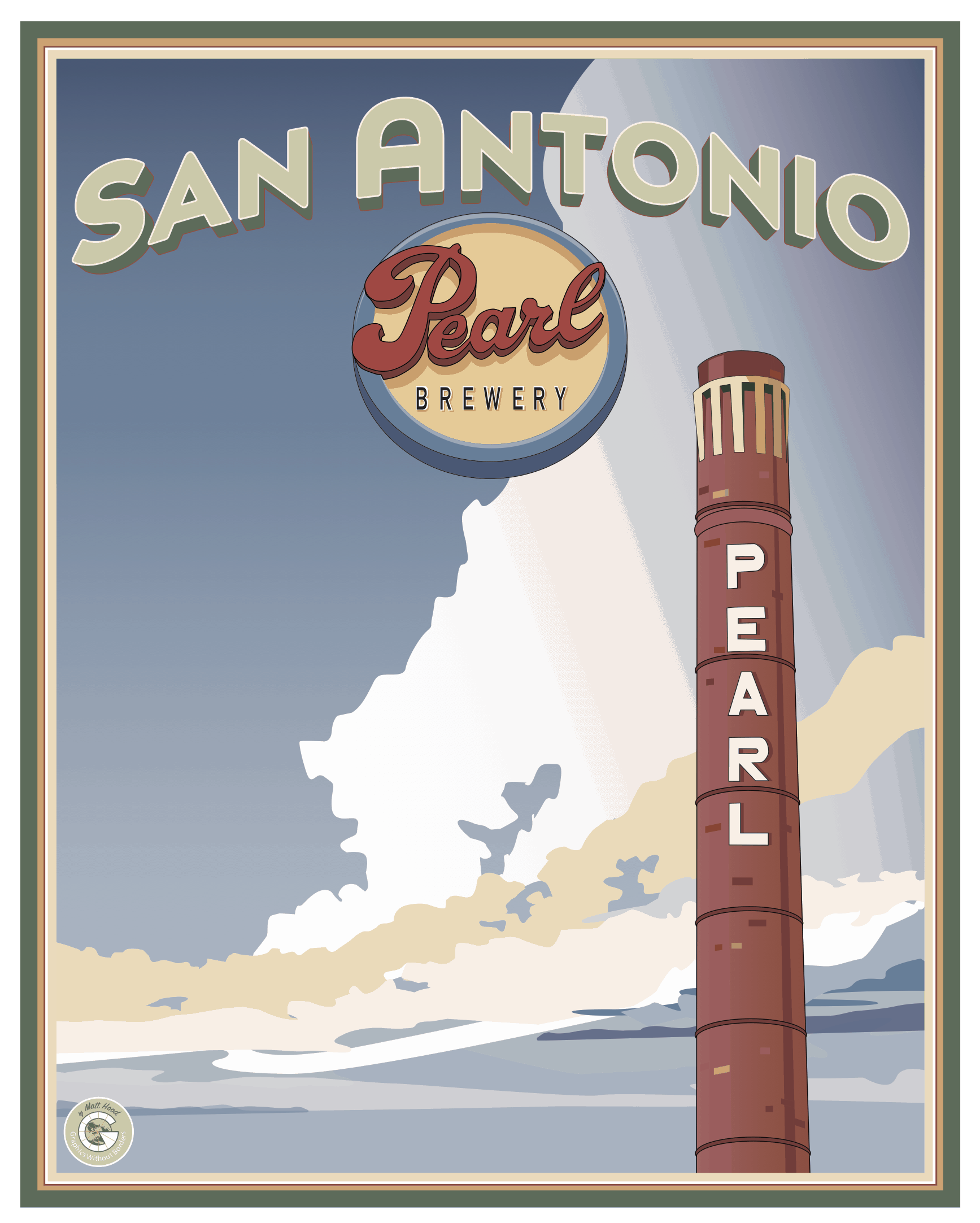 Vintage-style travel poster for San Antonio's Pearl Brewery