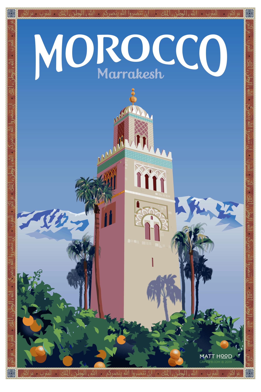 Marrakesh, Morocco Travel Poster