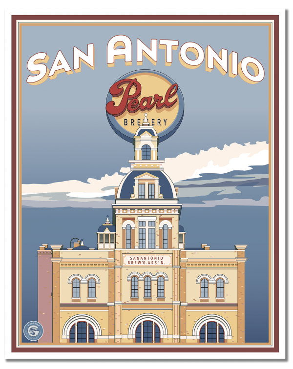 Vintage style travel poster by Matt Hood of Graphics Without Borders. The Pearl Brewery District is one of San Antonio's best spots for unique shops, great food and, of course, the weekly farmer's market. All this and a fantastic history as the city's premier beer brewery from the 1880s until the early 2000s. Now the Pearl's old Brewhouse is home to the boutique Hotel Emma.