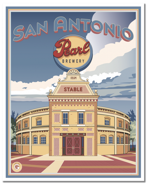 Vintage style travel poster by Matt Hood for Graphics Without Borders. The Pearl Brewery District is one of San Antonio's best spots for unique shops, great food and, of course, the weekly farmer's market. All this and a fantastic history as the city's premier beer brewery from the 1880s until the early 2000s. Now the old stable is a high-end venue for weddings and group events.