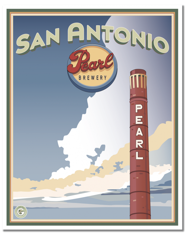 Vintage travel poster by Matt Hood of Graphics Without Borders. This one is part of his San Antonio Pearl Brewery series and features the iconic Pearl Brewery smokestack.